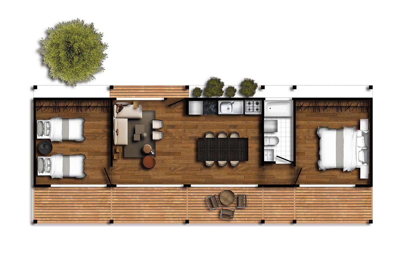 Casa prefabricada Pichilemu II 1280