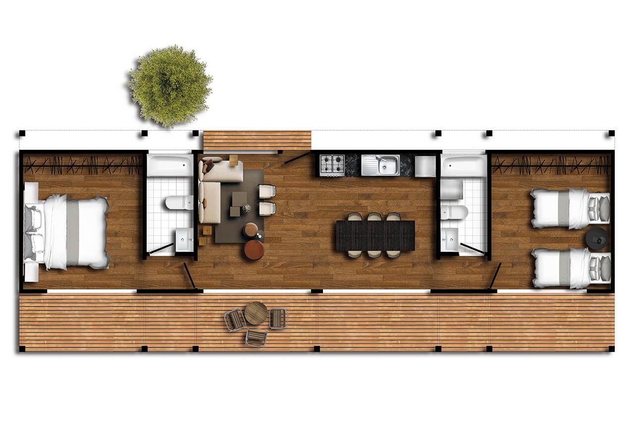 Casa prefabricada Pichilemu III 1280